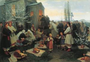 Пасхальная заутреня в Малороссии Николай Пимоненко 1891
